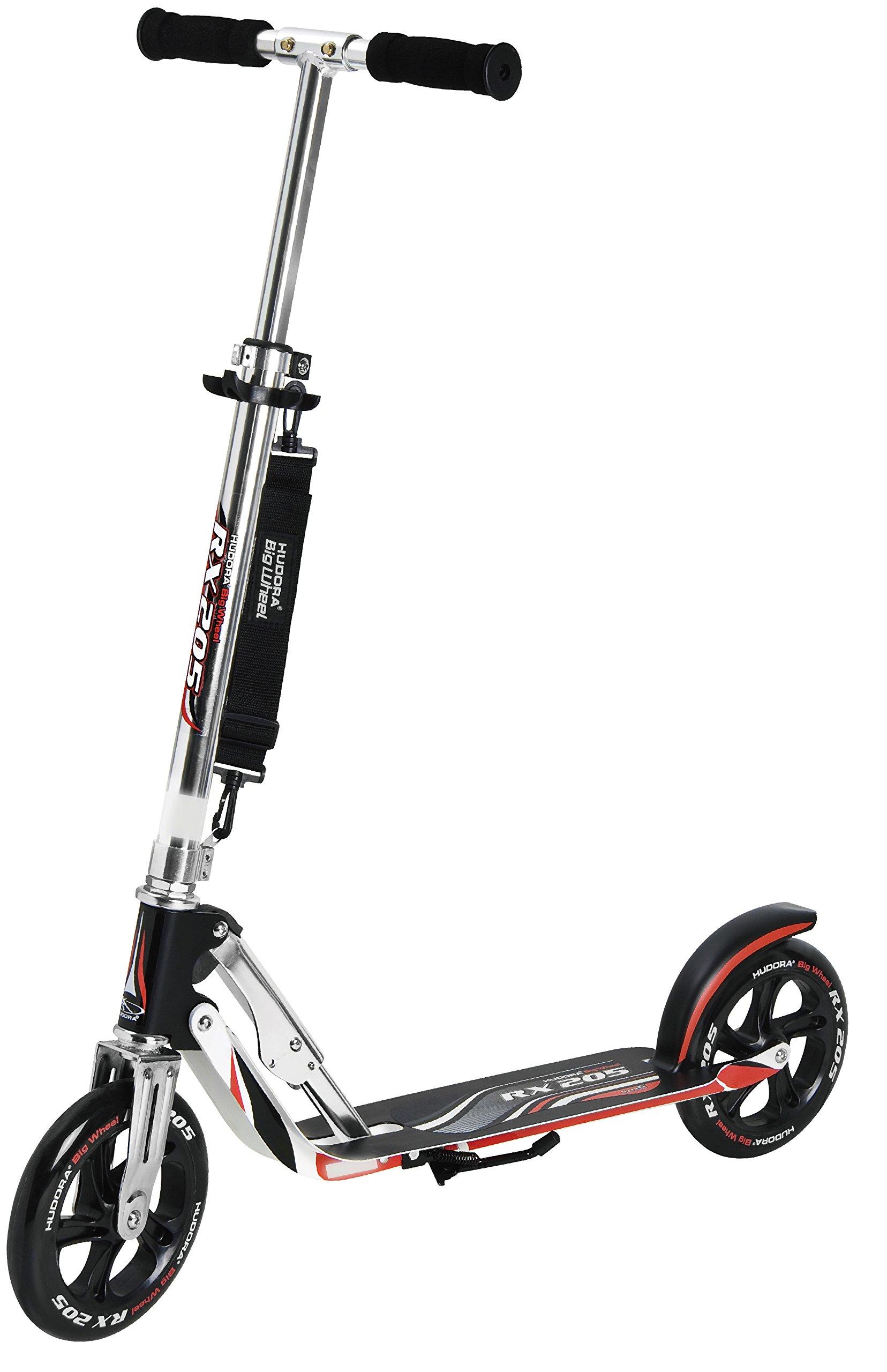 HUDORA 14724 Adult Folding Kick Scooter- 2 Big PU Wheels 205 mm, Adjustable Bar,Reinforced Deck by HUDORA