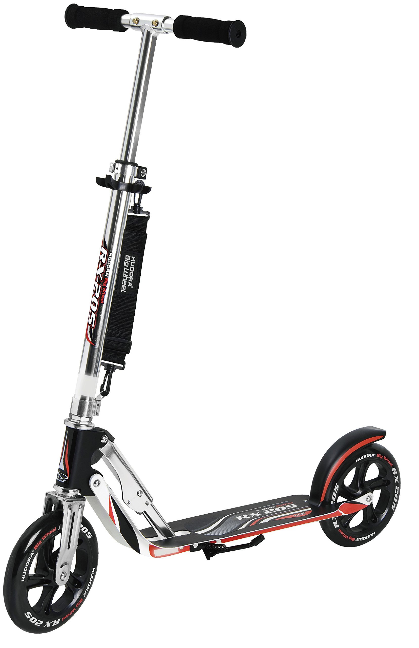 HUDORA 14724 Adult Folding Kick Scooter- 2 Big PU Wheels 205 mm, Adjustable Bar,Reinforced Deck by HUDORA