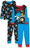 Sonic The Hedgehog Conjunto de Pijama de algodón de 4 Piezas para niño Sonic Juego de Pijama para Niños