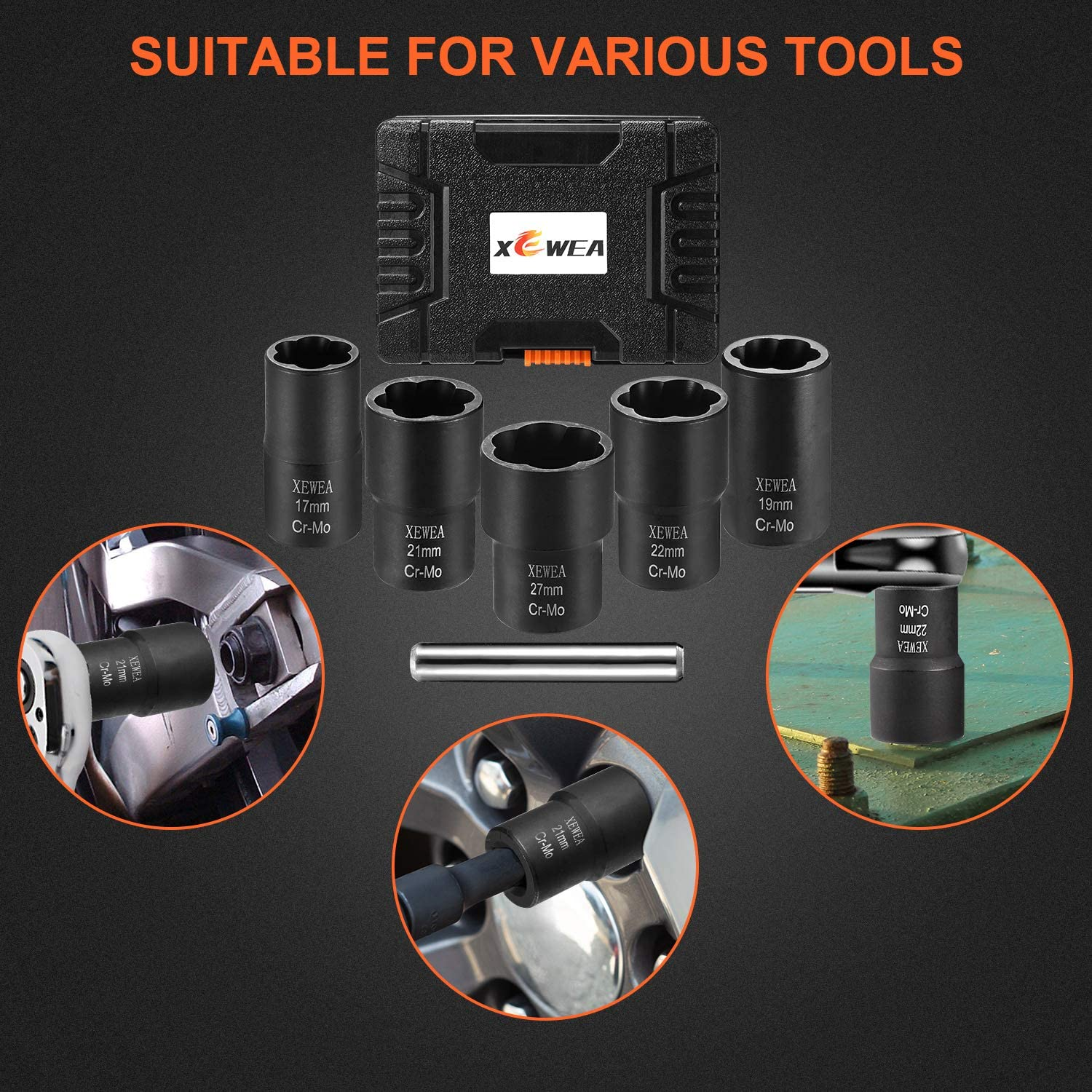 XEWEA Deep Impact Bolt Extractor Set with Center Punch Bar Nut Removal Extractor Socket Tool Metric 17mm 19mm 21mm 22mm 27mm 6Pcs