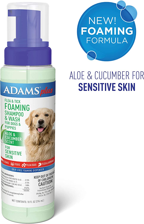 Amazon Com Adams Plus Flea Tick Foaming Shampoo Wash For Dogs Puppies 10 Oz Pet Supplies