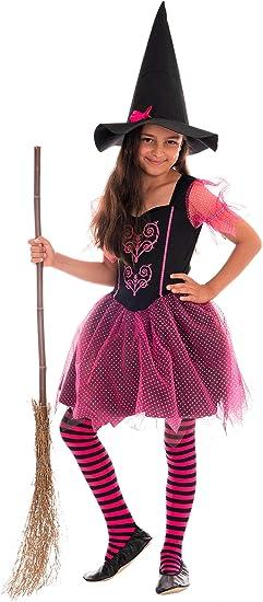 Magicoo Disfraz de Bruja para niña, Color Rosa y Negro, Vestido y ...