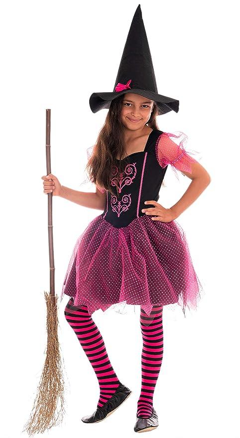 Magicoo Disfraz de Bruja para niña, Color Rosa y Negro ...