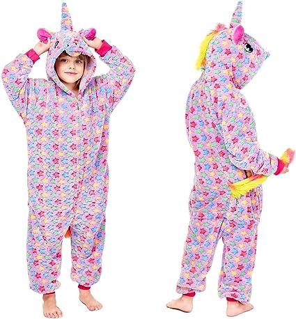 Pijama de Unicornio para niñas y niños Morado Morado (130