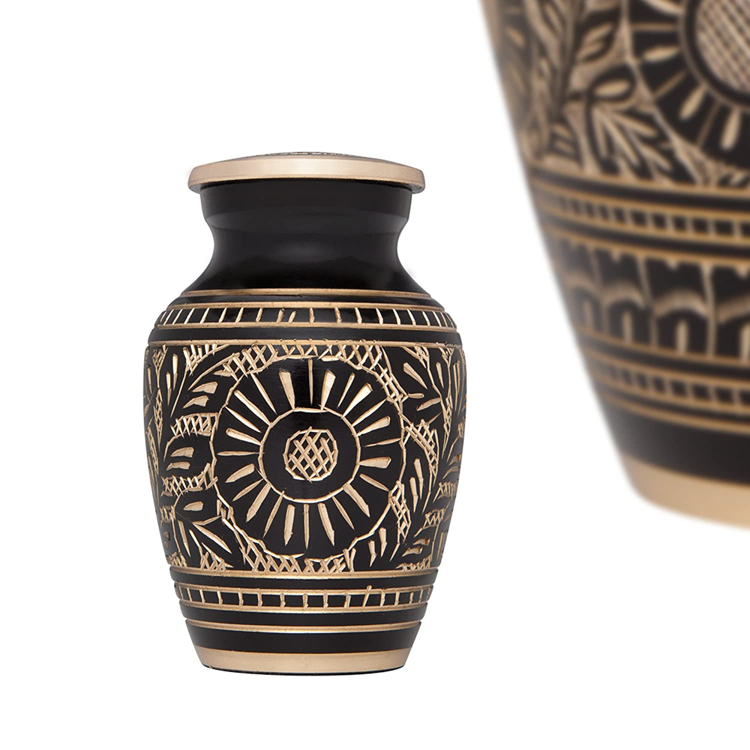 Black and Gold Mini Keepsake Urn • Miniature Funeral Cremation Urn fits Small Amount of Ashes • Marguerites Model Liliane Memorials Margeurites