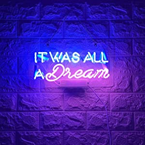 BYGO Neon Signs It was All a Dream Neon Light Blue Pink Handmade Real Glass Tube Neon Lights Sign for Bar Party Bedroom Hotel Office Garage Ultra Bright Night Neon Light Wall Decor Sign