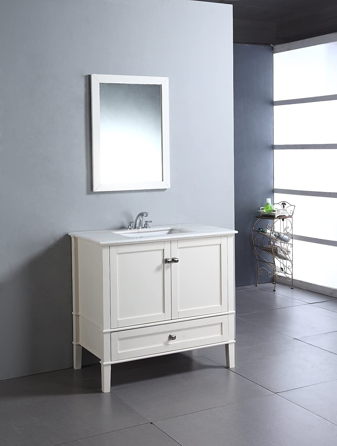simpli home chelsea 36 bath vanity with white quartz marble top soft white bathroom vanities amazoncom