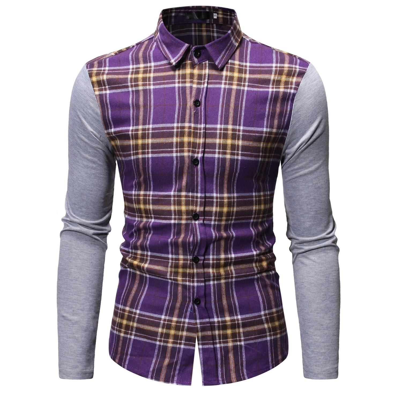Comaba Mens Splice Britain Plaid Casual Mid Long Button Down Shirt