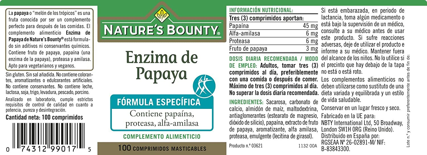 Natures Bounty Enzima de Papaya - 100 Comprimidos: Amazon ...