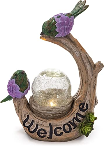 VP Home Welcome Birds Tree Trunk Solar Powered LED Outdoor Decor Garden Light with Crackled Glass Globe