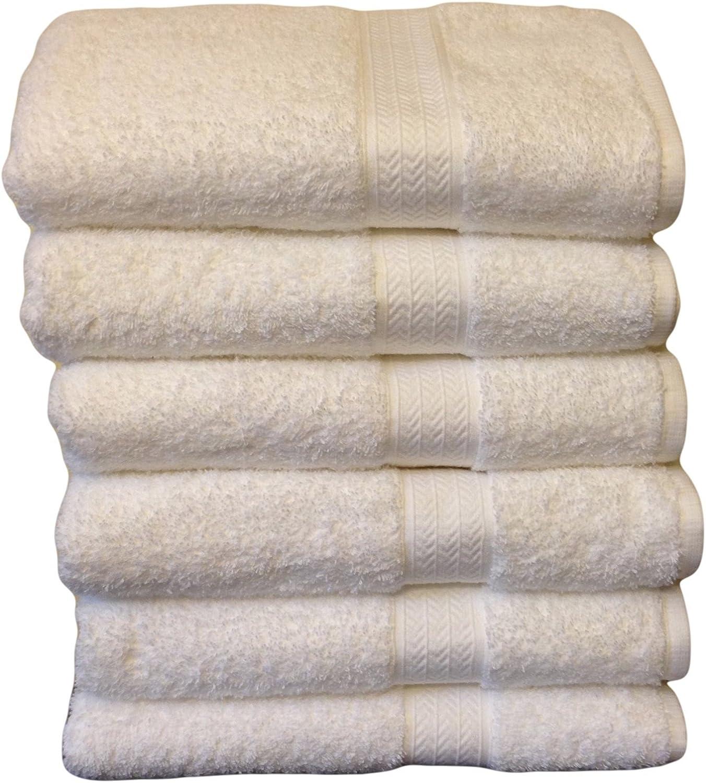 Amazon Com Grandeur Hospitality Bath Towels 100 Cotton 6 Pack White Home Kitchen