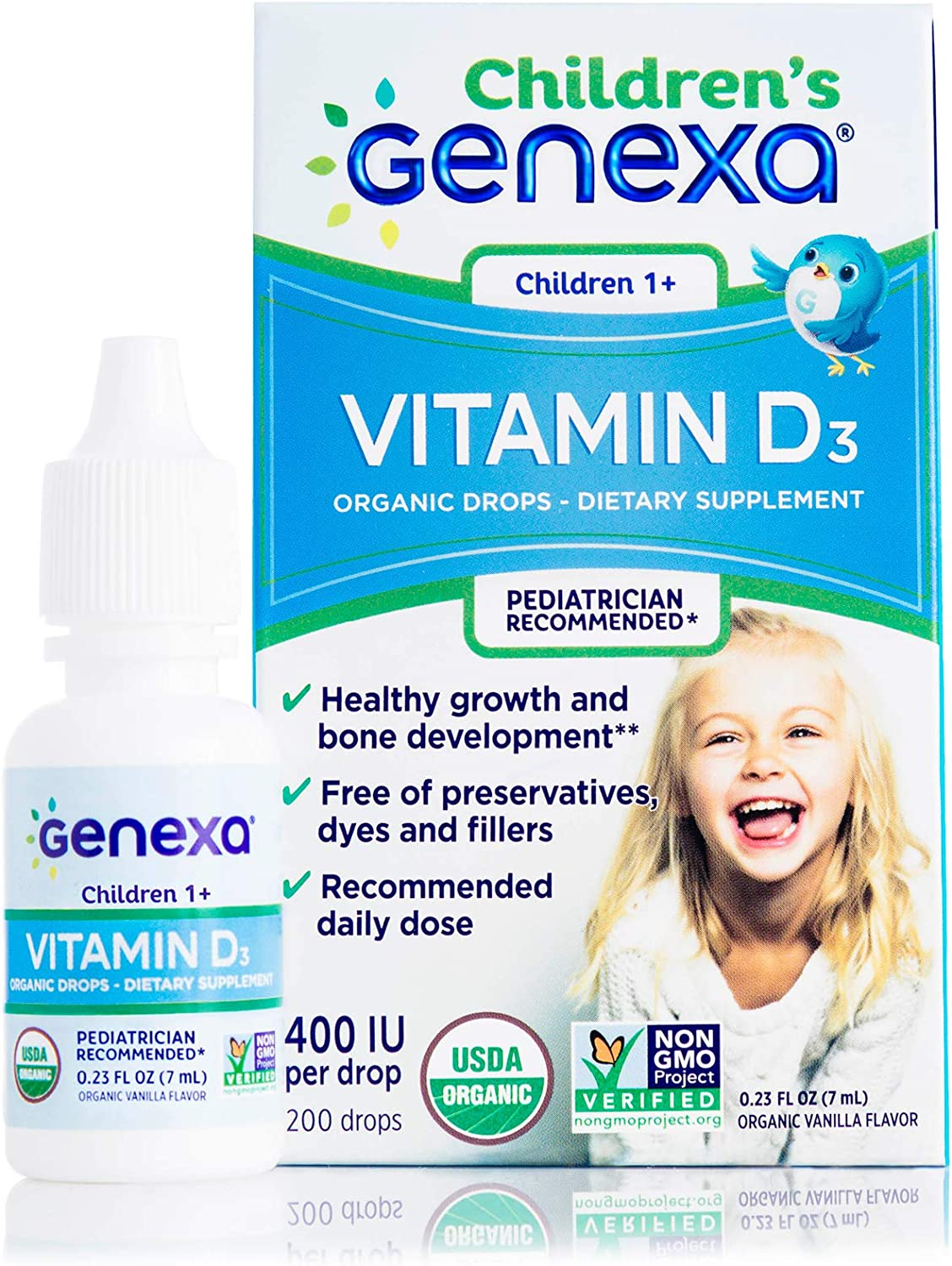 Genexa Vitamin D3 Drops for Children – 100 Servings   Certified Organic and Non-GMO, Pediatrician Recommended   Promotes Healthy Growth and Bone Development