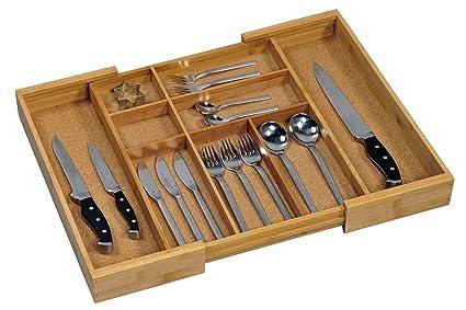 Kesper 1708613 - Caja para cubertería de madera de bambú (tamaño regulable de 35-