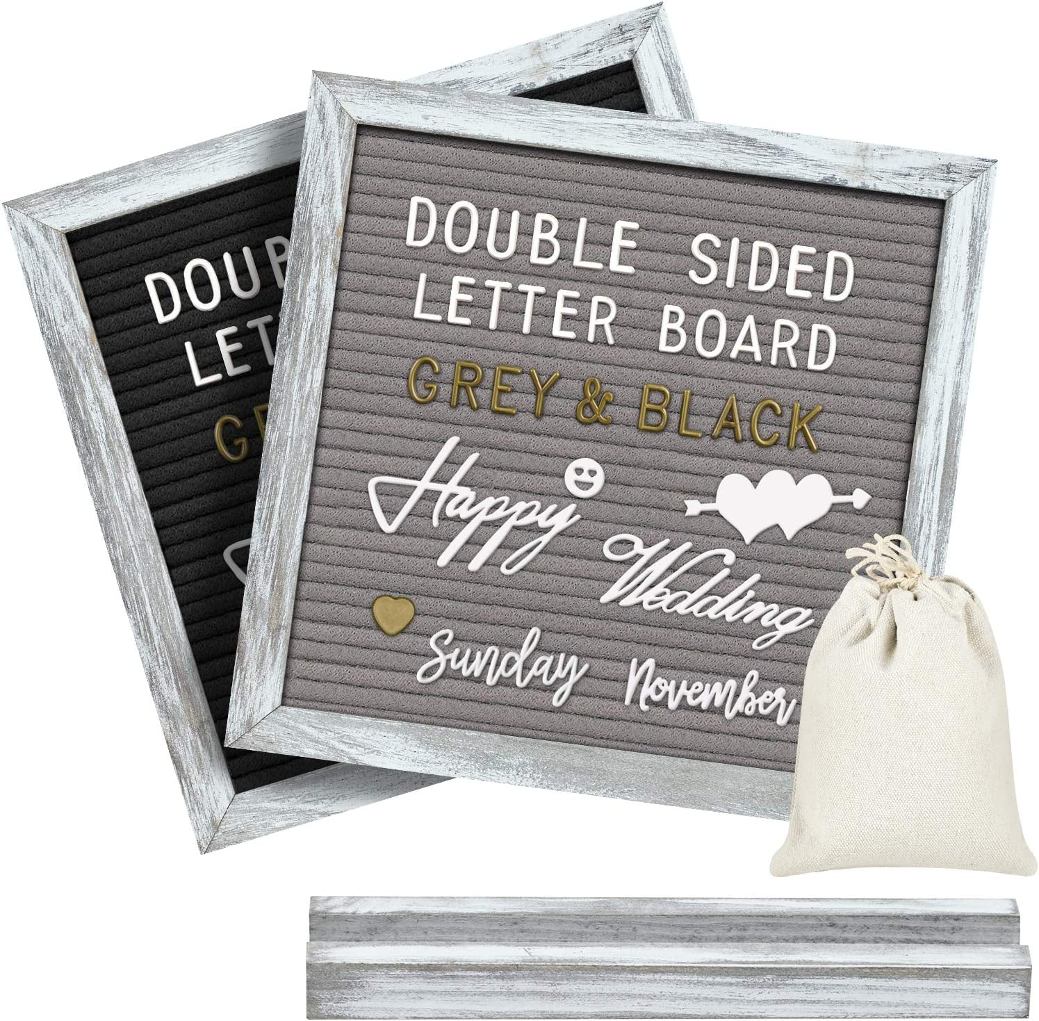 Gelibo Double Sided Letter Board with 750 Precut White & Gold Letters,Months & Days & Extra Cursive Words, Wall & Tabletop Display, Letters Organizer Box (Cyan Rustic 10x10)