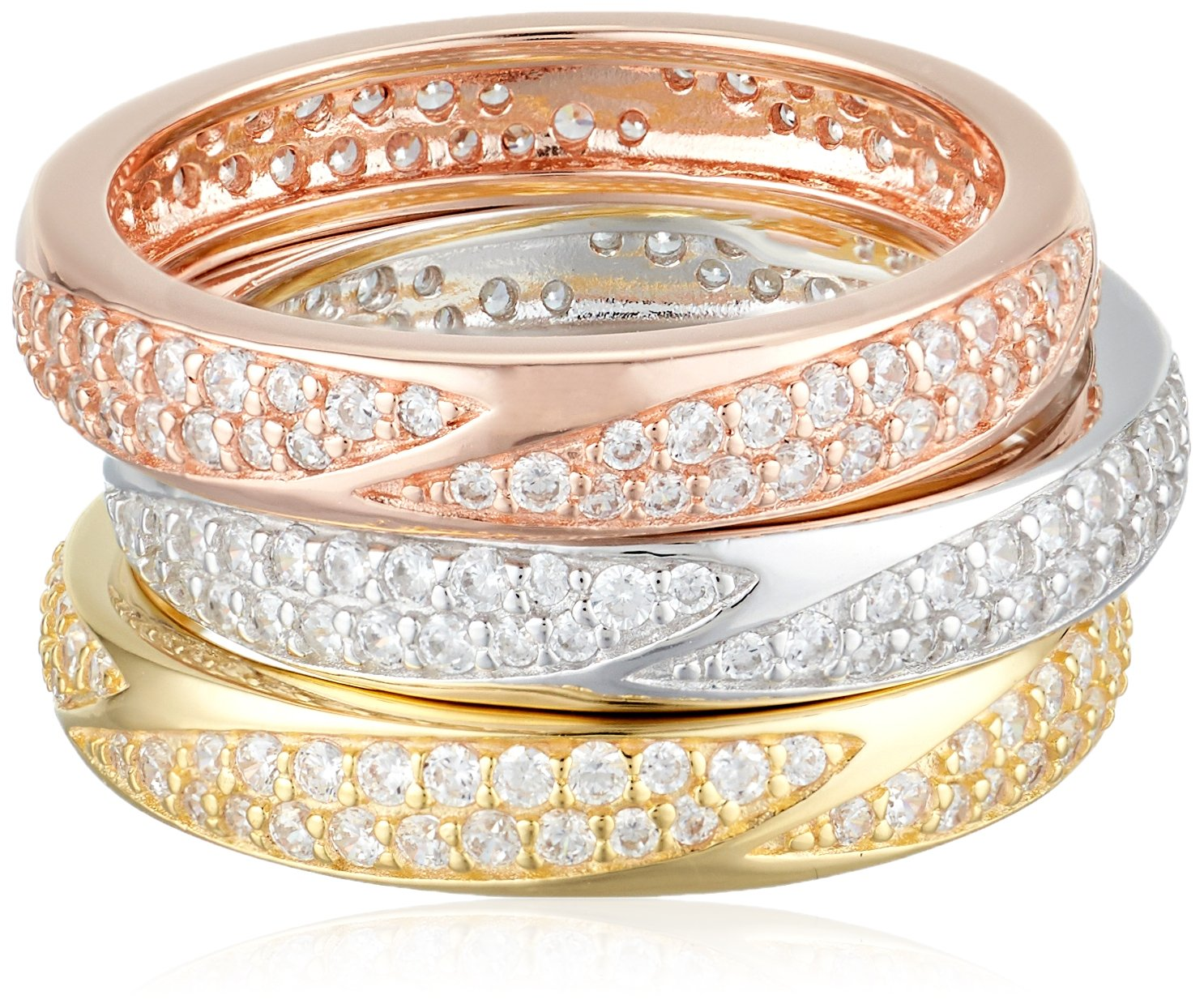 Sterling Silver Cubic Zirconia Tri-Tone Stacking Rings (Set of 3), Size 7