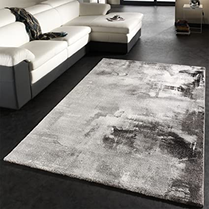 PHC Alfombra Moderna Diseño Estética Lienzo Moteada Sombreada Gris Negro Blanco, tamaño:160x230 cm