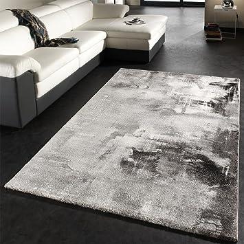 PHC Teppich Modern Designer Teppich Leinwand Optik Grau Schwarz Weiss  Meliert, Grösse:160x230 Cm