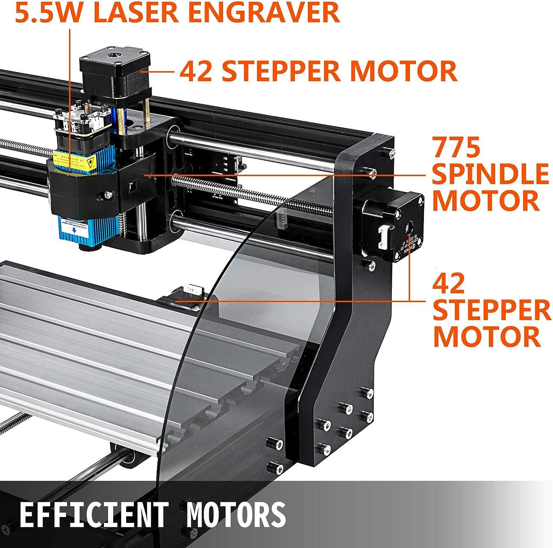 M/áquina de Grabado L/áser Fresadoras para Madera 300 /× 180 /× 45 mm PVC Madera VEVOR CNC 3018 Pro Router CNC 5,5W L/áser 3 Ejes Acr/ílico para Tallado Fresado Pl/ástico Control GRBL
