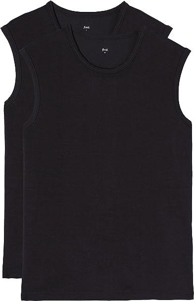 Marca Amazon - find. Essential Sleeveless, Camiseta sin Mangas para Hombre, Pack de 2, Negro (Black X2), L, Label: L: Amazon.es: Ropa y accesorios