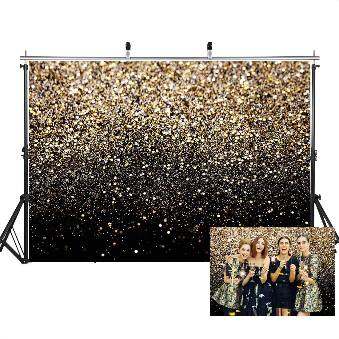 SJOLOON 7X5ft Glitter Backdrop Golden Spots Backdrop Vinyl Photography Backdrop Vintage Astract Glitter Background for Family Birthday Party Newborn Studio Props 11547