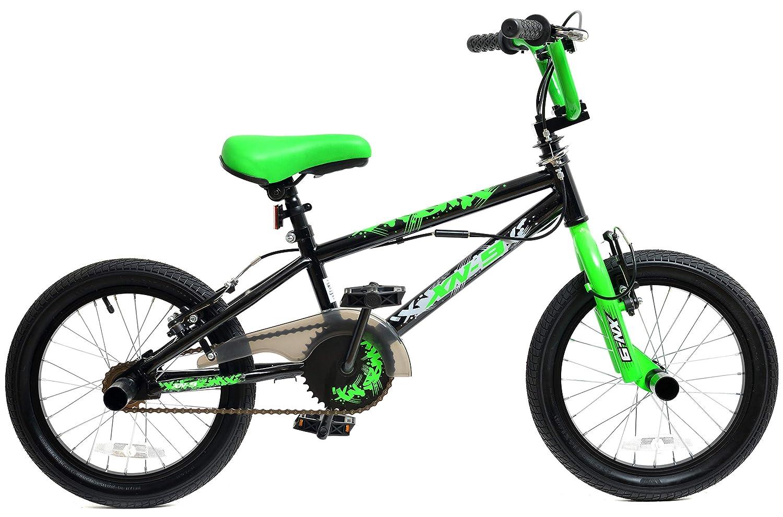 XN-9 Boys Kids Freestyle BMX Bike 16' Wheel Black Green with Gyro