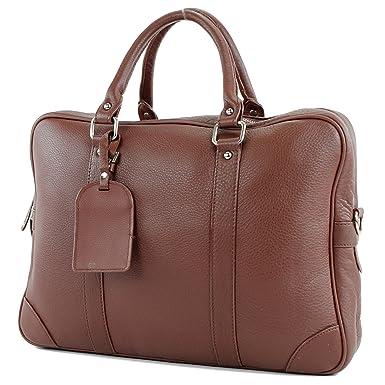 modamoda de - ital. Ledertasche Damentasche Shopper Tragetasche Elegant Echtleder T132, Präzise Farbe:Dunkelbraun modamoda de - Made in Italy