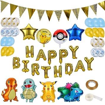 Colmanda Globo Pokémon, 37 Piezas Helium Foil Balloons ...