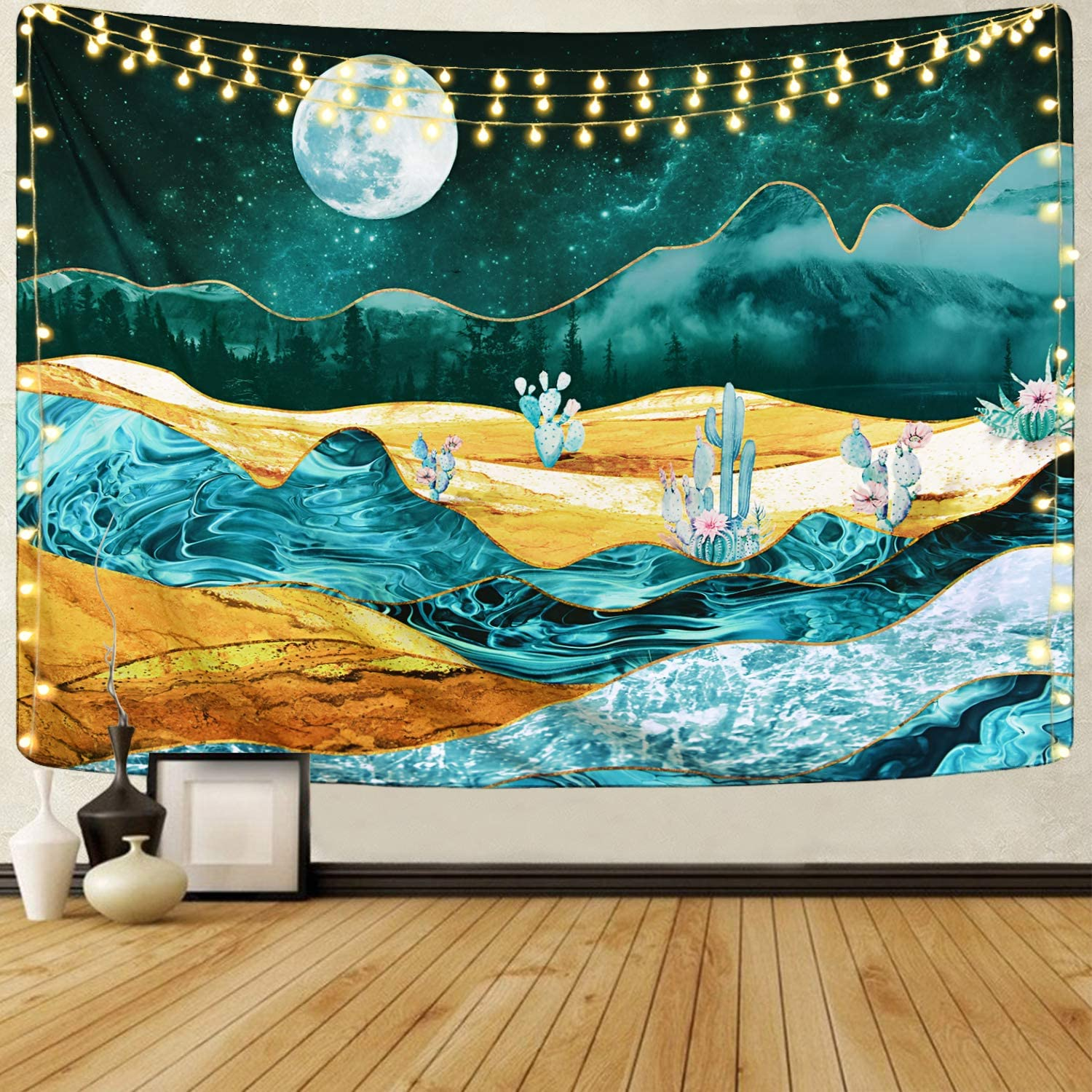 Alishomtll Cactus and Moon Tapestry Desert Mountain Tapestry Forest Nature Landscape Tapestry Tree Plant Tapestry for Room (51.2 x 59.1 inches)