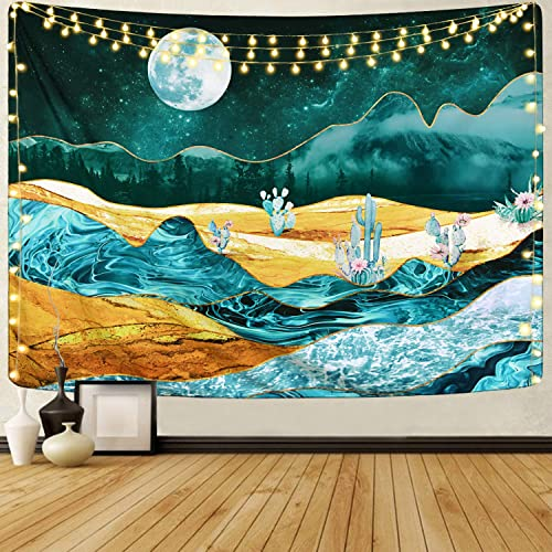 Alishomtll Cactus and Moon Tapestry Desert Mountain Tapestry Forest Nature Landscape Tapestry Tree Plant Tapestry for Room 70.9 92.5 inches