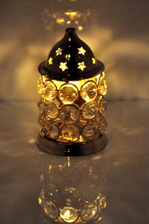 CraftVatika Akhand Diya Crystal Brass Dia Oil Lamp Tealight Holder | Home Lights | Diya For Puja | (Small)