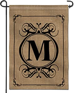 Anley Classic Monogram Letter M Garden Flag, Double Sided Family Last Name Initial Yard Flags - Personalized Welcome Home Decor - Weather Resistant & Double Stitched - 18 x 12.5 Inch