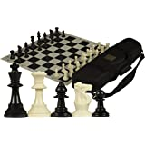 Staunton Tournament Chess Set with Weighted Chessmen, Bag, and Roll-Up Vinyl Board w/ Black & Natural Squares