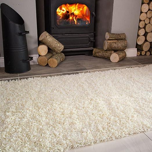 Ontario Cream Off White Fireside Fireplace Mantelpiece Hearth Shaggy Shag Fluffy Living Room Area Rug