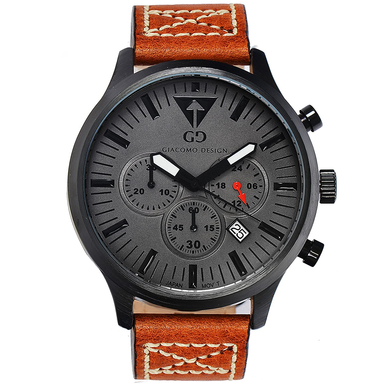 Herren-Armbanduhr Giacomo Design gd03002 - Chronograph - Big Zifferblatt Leder Gurt