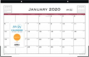 """Blue Sky 2020 Monthly Desk Pad Calendar, Two-Hole Punched, Ruled Blocks, 17"""" x 11"""", Classic Red"""