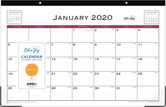 Blue Sky 2020 Monthly Desk Pad Calendar Classic Red 17 x 11 Two-Hole Punched Ruled Blocks