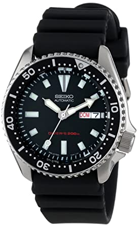 seiko men s skx173 stainless steel and black polyurethane seiko men s skx173 stainless steel and black polyurethane automatic dive watch