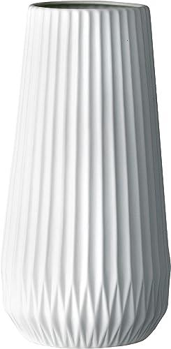 Bloomingville Tall White Ceramic Fluted Vase