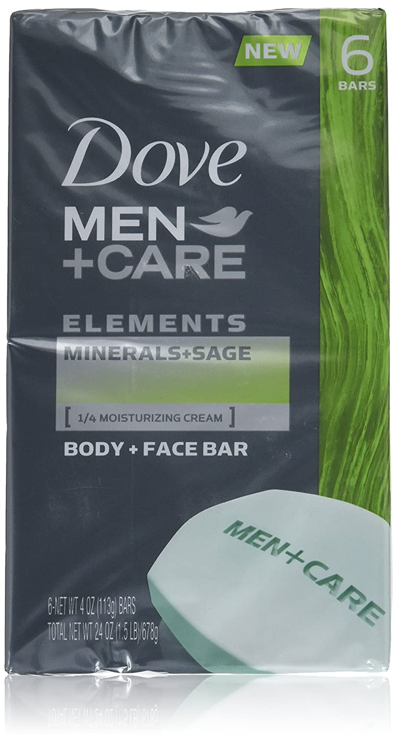 Dove Men+Care Body and Face Bar, Minerals + Sage 4 oz, 6 Bar