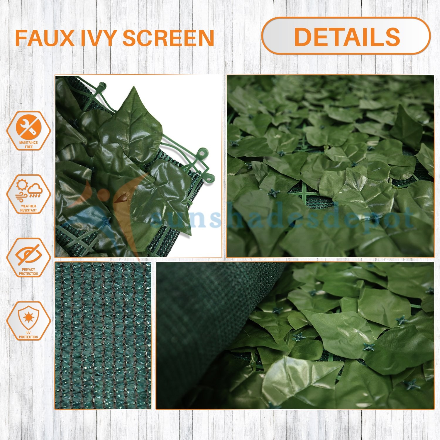 Sunshades Depot 4' x 14' Artificial Faux Ivy Privacy Fence Screen Leaf Vine Decoration Panel with Mesh Back by Sunshades Depot (Image #2)