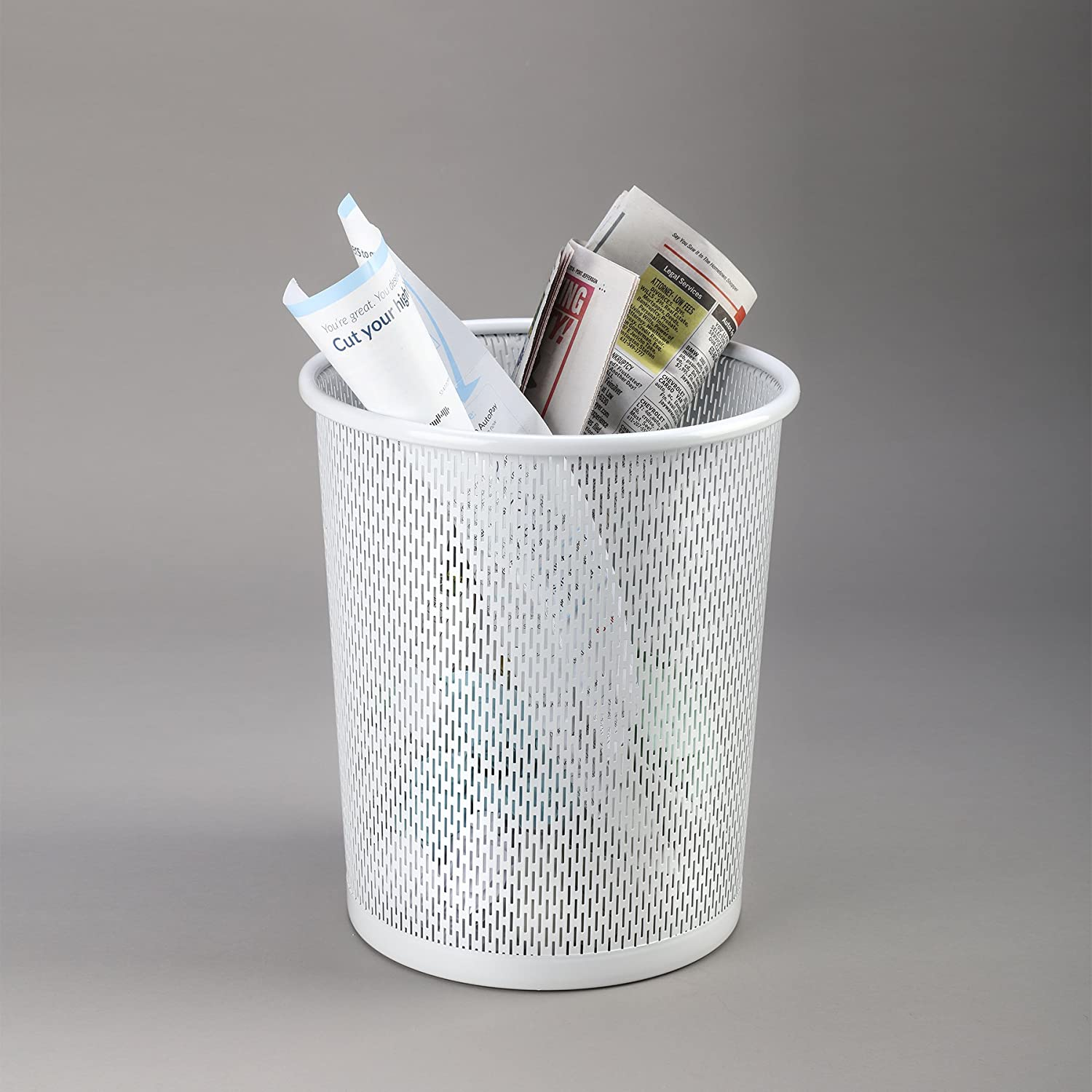White ART20017WH Artistic Urban Collection Punched Metal Business Waste Bin Garbage Can