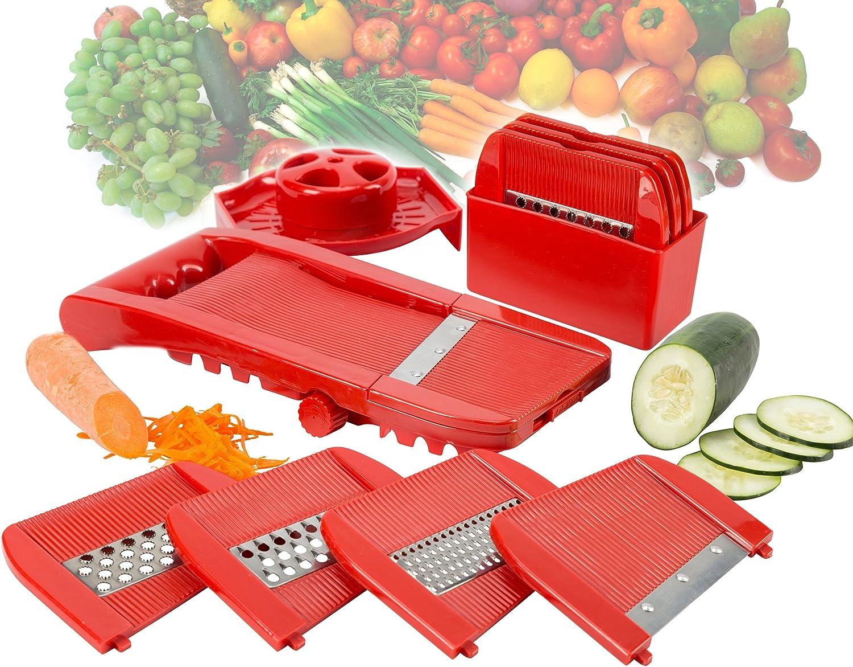 All In One Adjustable Fruit and Vegetable Mandoline Slicer Shredder Grater Grinder Julienne Cutter Set.