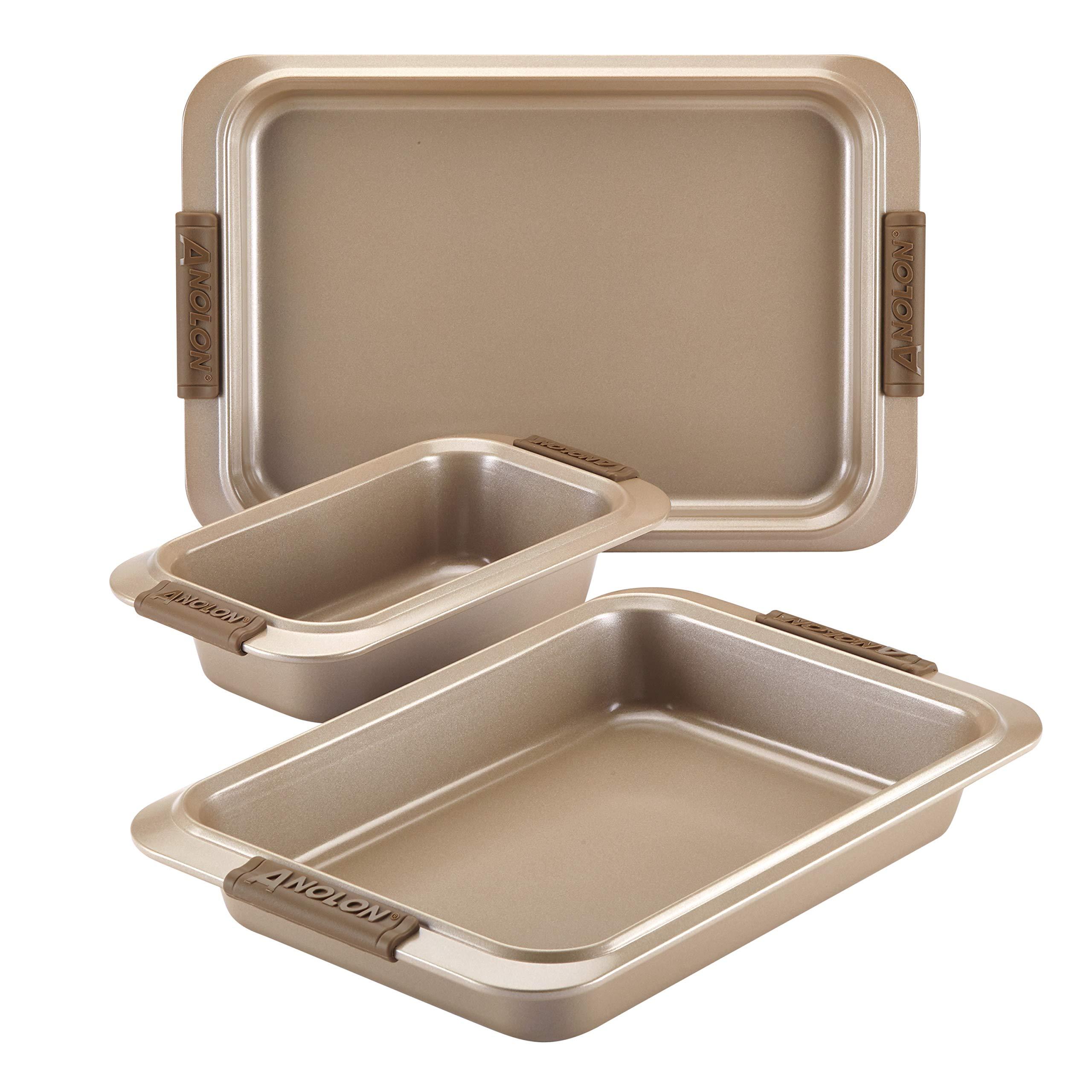 Anolon 47395 3-Piece Steel Bakeware Set, Bronze