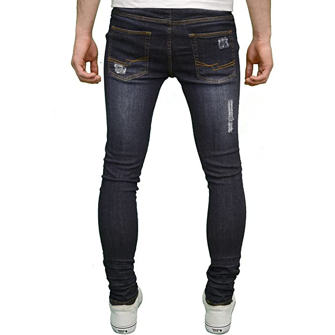 a7f280014616 526Jeanswear Razor Mens Stretch Super Skinny Ripped Distressed Jeans:  Amazon.co.uk: Clothing
