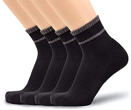 ebd652bc8 u&i Men's Performance Cushion Cotton Comfort Mid Cut Quarter Athletic Socks,  ...