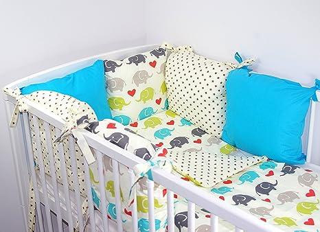 BABY BEDDING SET CRIB CRADLE 10 Pieces PILLOW DUVET COVER BUMPER CANOPY to fit Crib 90x40cm 100/% COTTON Blue