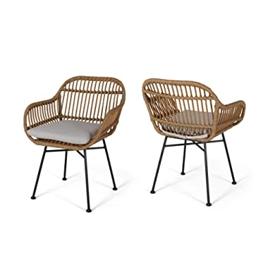 Rodney Indoor Woven Faux Rattan Chairs with Cushions (Set of 2), Beige and Light Brown Finish