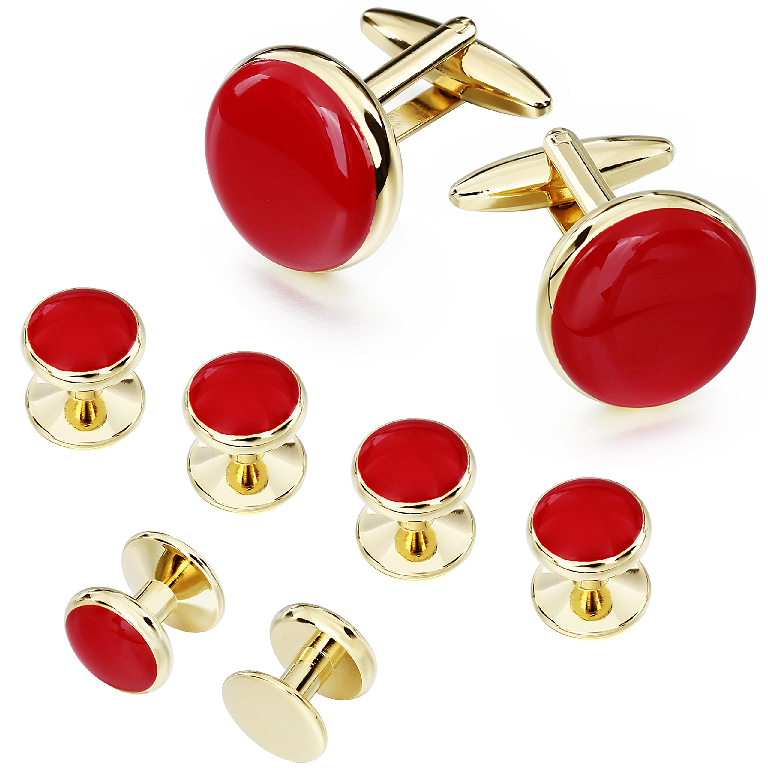 AMITER Cufflinks and Tuxedo Shirt Studs Set for Men Classic Gold and Red Enamel Round Shape with Gift Box - Formal Business Wedding Anniversary Jewelry