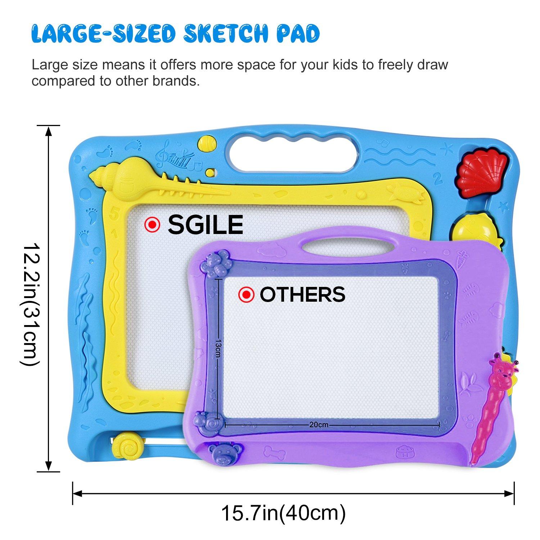 General SGILE Lavagna Magnetica Colorato Magna Doodle Tavolo da Disegno Magnetico per Bambini con 4 Colors Blu-Mare
