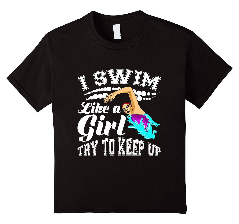 Womens Swim Like Girl T shirt-Tovacu